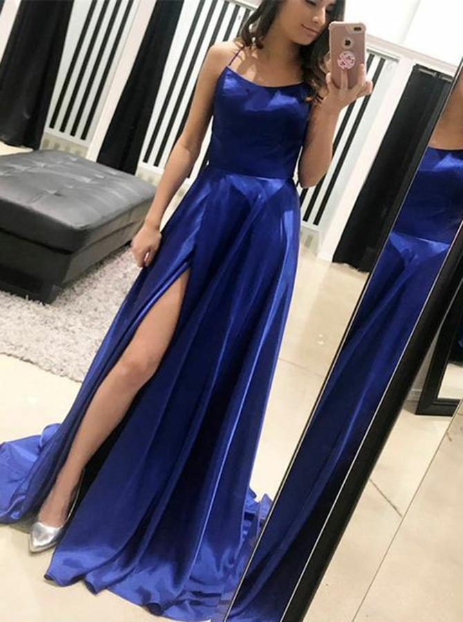 Simple-dress / A-Line Spaghetti Straps Royal Blue Chiffon Backless Prom Dress