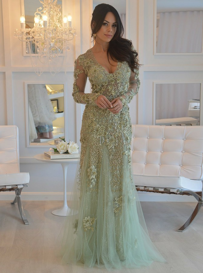 Mermaid Scoop Mint Tulle Evening Prom Dress with Appliques Beading фото