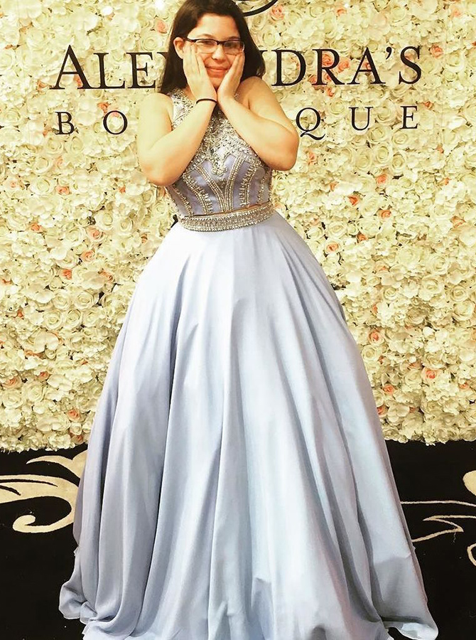 A-Line Crew Sleeveless Sweep Train Grey Stretch Satin Prom Dress with Beading thumbnail