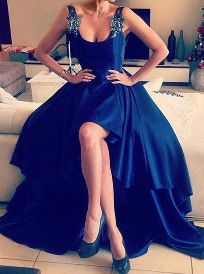 A-Line Straps Asymmetry Backless Royal Blue Satin Prom Dress with Appliques thumbnail