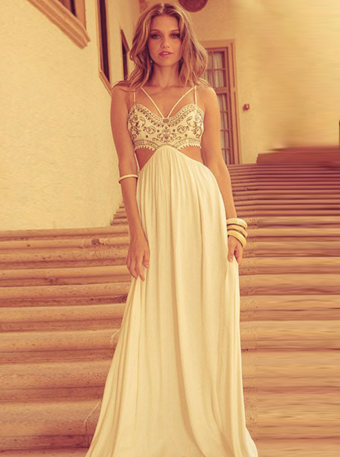 A-Line Spaghetti Straps Floor-Length Cut Out Ivory Chiffon Prom Dress with Embroidery