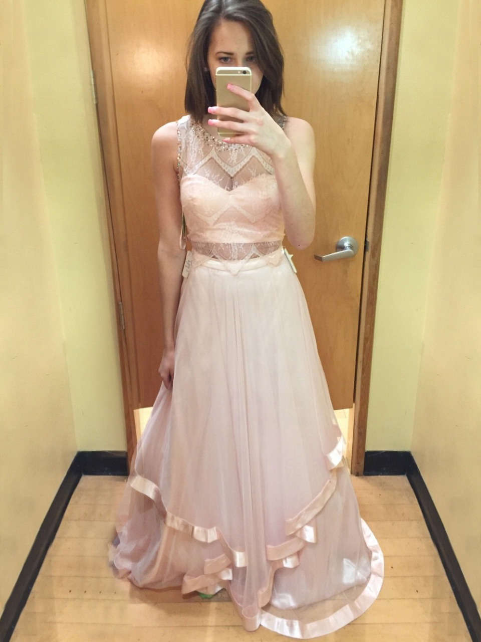 A-Line Scoop Sweep Train Light Pink Tulle Prom Dress with Lace Beading Ruffles