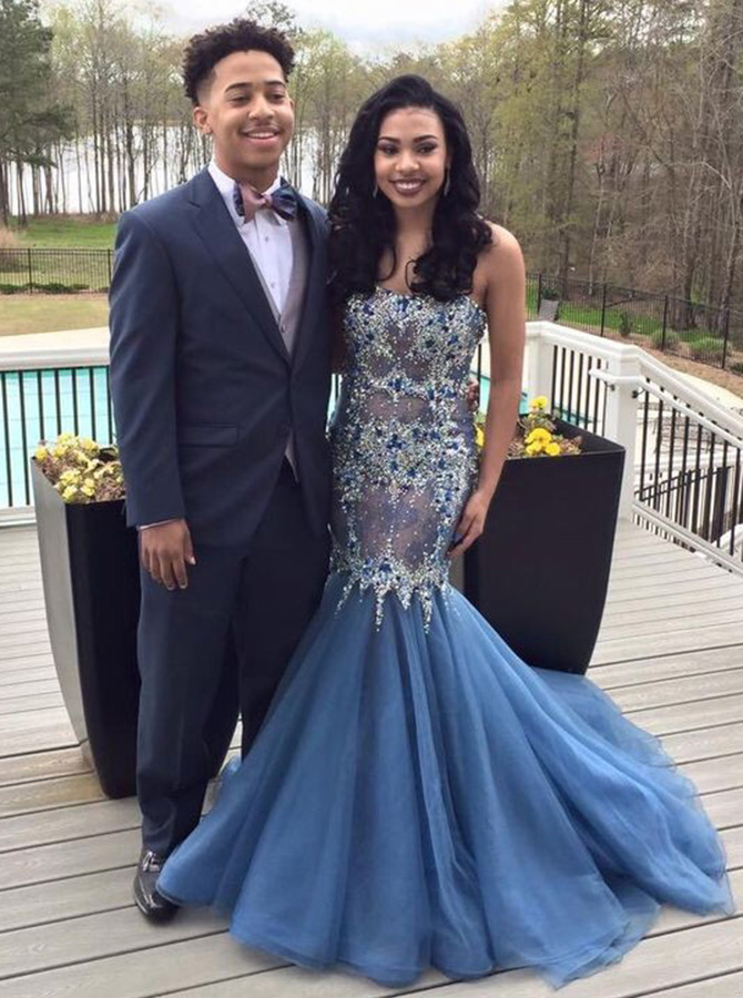 Mermaid Sweetheart Sweep Train Dark Blue Organza Prom Dress with Beading