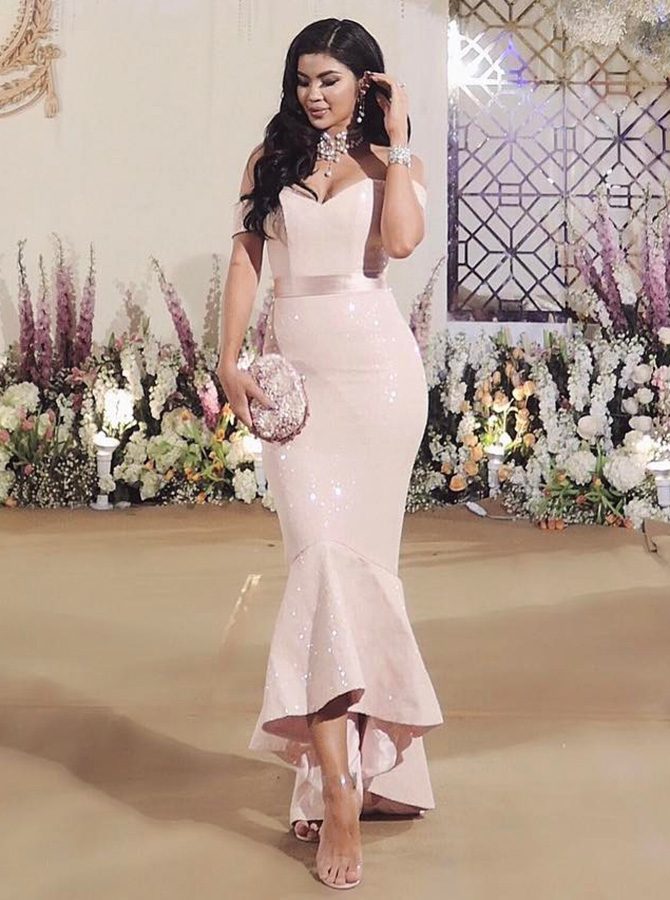 Mermaid Off-the-Shoulder Hi-Lo Pearl Pink Stretch Satin Prom Dress with Sashes фото