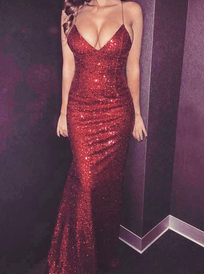 Mermaid Spaghetti Straps Sleeveless Sweep Train Dark Red Sequined Prom Dress фото