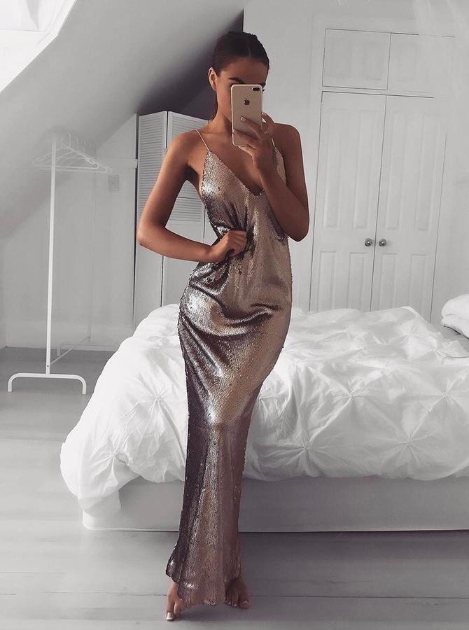 Mermaid Spaghetti Straps Floor-Length Criss-Cross Straps Browm Sequined Prom Dress фото