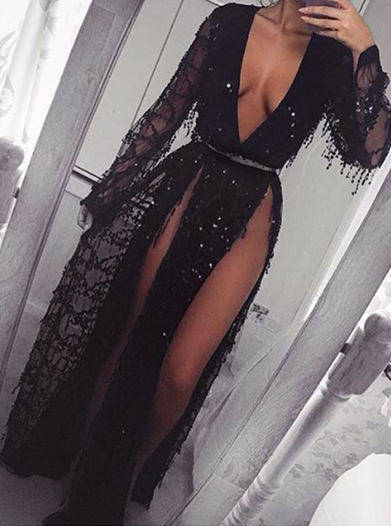 Sheath Deep V-Neck Long Sleeves Split-Side Black Tulle Prom Dress with Appliques Beading