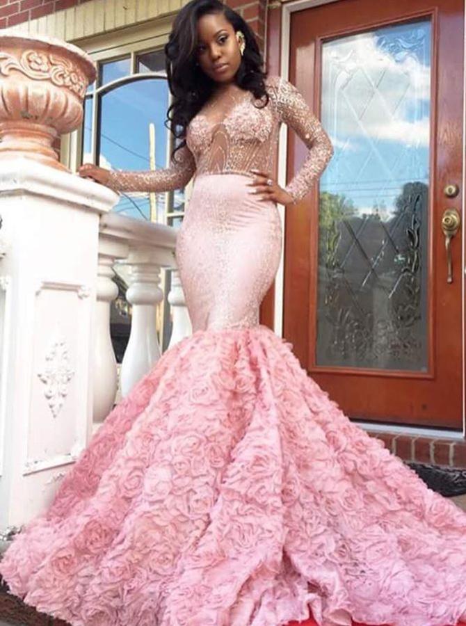 Mermaid Deep V-Neck Court Train Long Sleeves Pink Satin Prom Dress with Beading Ruffles фото