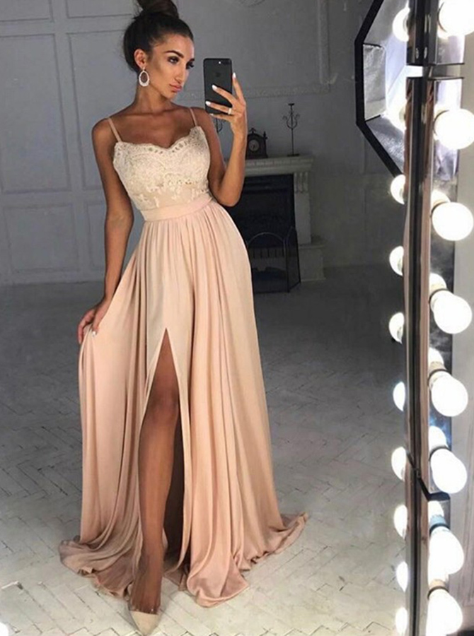 A-Line Spaghetti Straps Sweep Train Split-Side Champagne Chiffon Prom Dress with Appliques фото