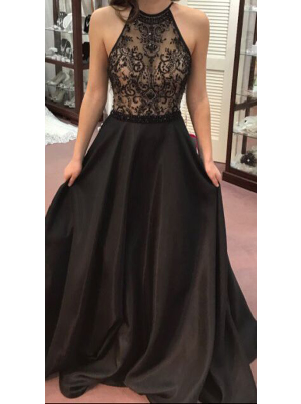 A-Line Halter Sweep Train Black Chiffon Prom Dress with Appliques Beading