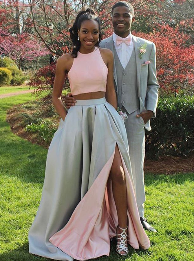 Two Piece Jewel Sweep Train Split-Side Pink Satin Prom Dress with Ruched фото