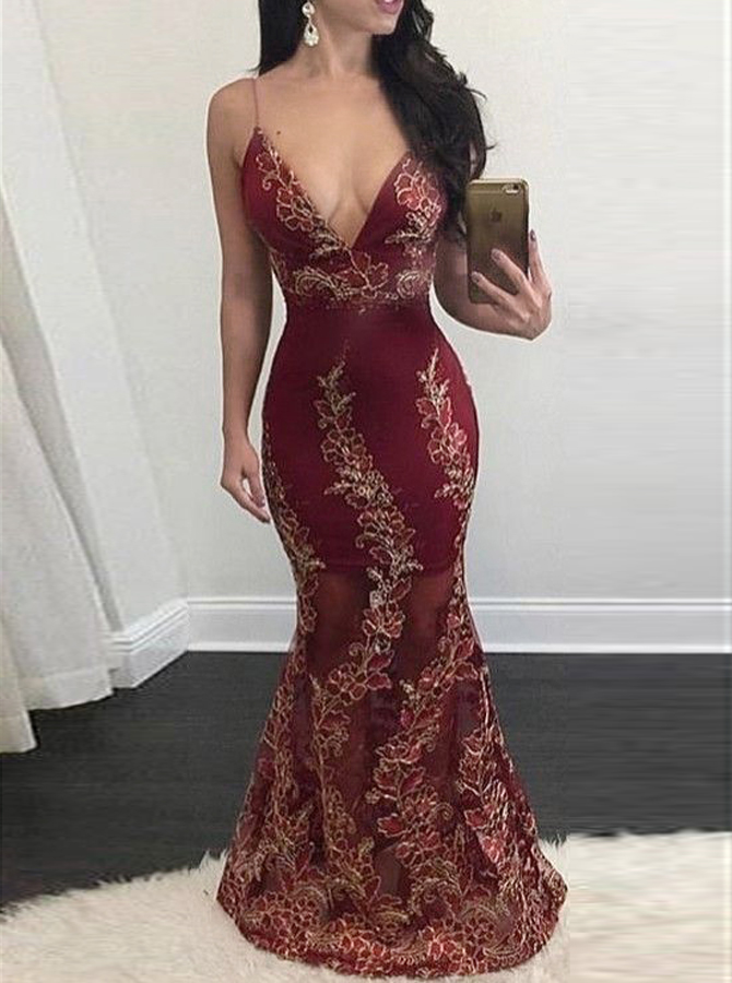 Mermaid Deep V-Neck Floor-Length Backless Burgundy Stretch Satin Prom Dress with Appliques фото