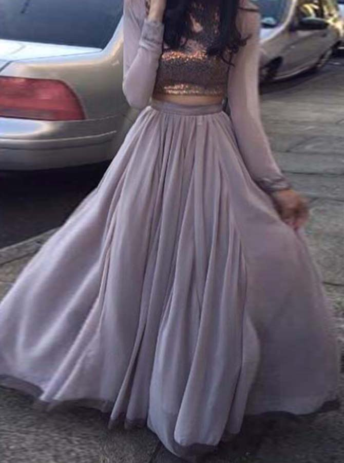 Two Piece Bateau Floor-Length Long Sleeves Grey Stretch Satin Prom Dress with Sequins