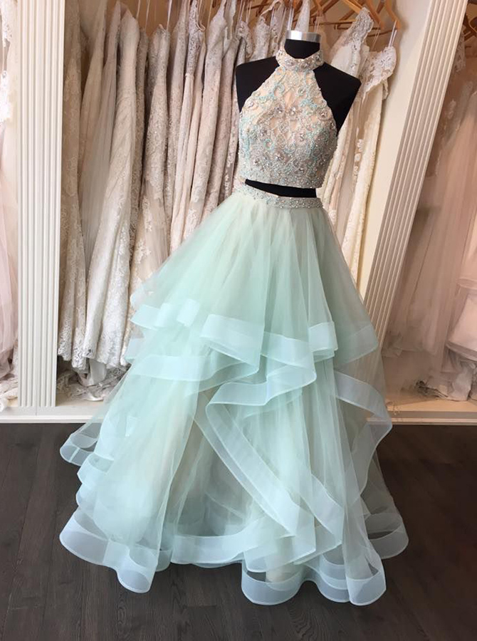 Two Piece High Neck Floor-Length Open Back Mint Organza Prom Dress with Appliques Beading