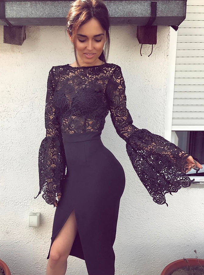 Mermaid Crew Long Bell Sleeves Split-Side Black Stretch Satin Prom Dress with Lace фото