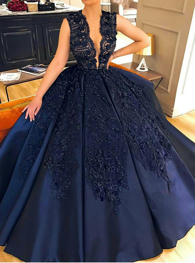 Ball Gown Jewel Court Train Sleeveless Navy Blue Satin Prom Dress with Appliques Beading фото