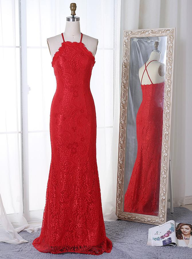 Sheath Spaghetti Straps Sweep Train Red Lace Prom Dress фото