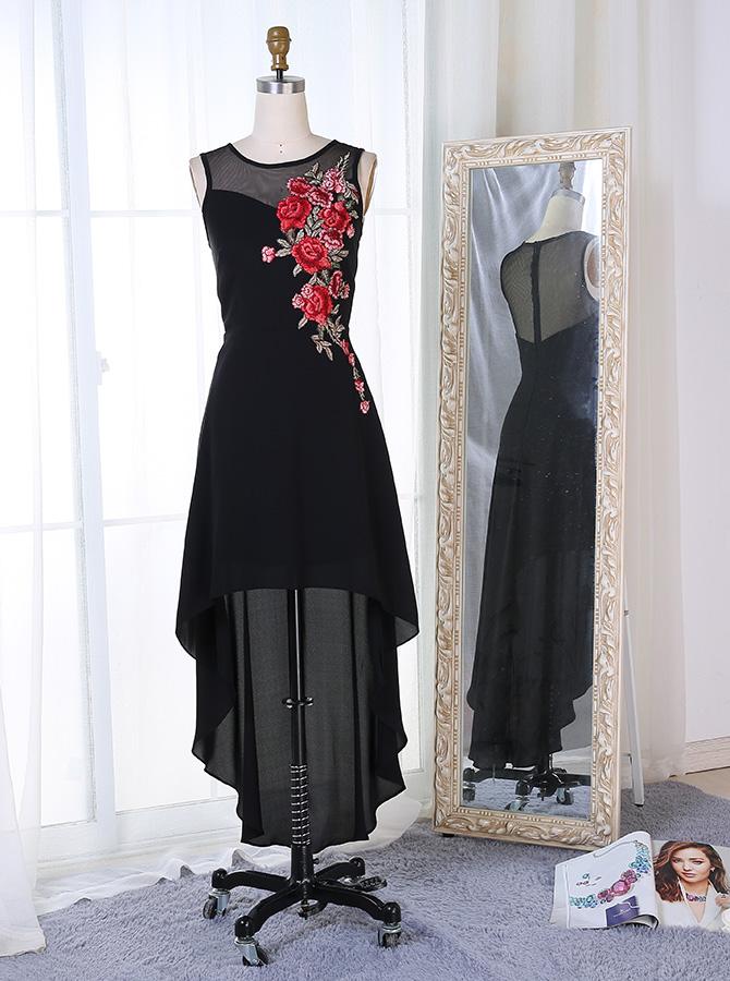 High Low Bateau Sleeveless Black Chiffon Prom Dress with Appliques фото