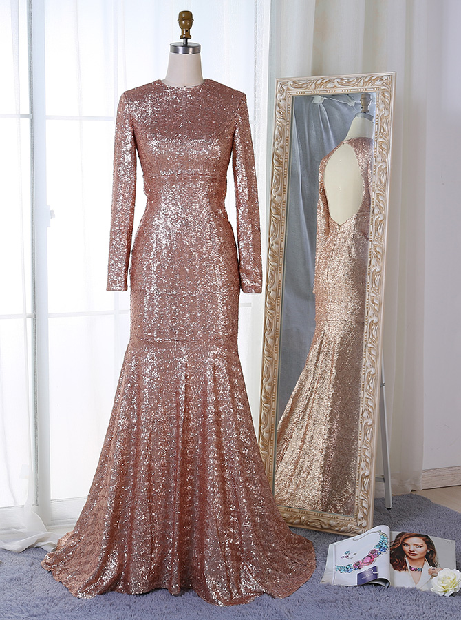 Mermaid Round Neck Long Sleeves Open Back Sequined Prom Dress фото