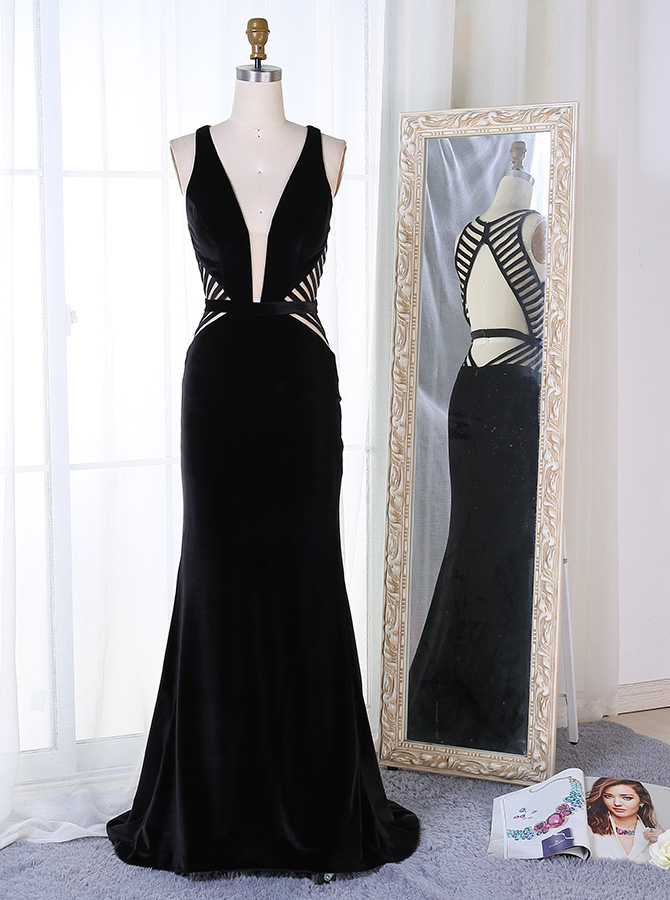 Mermaid Deep V-Neck Sweep Train Black Velvet Open Back Prom Dress фото