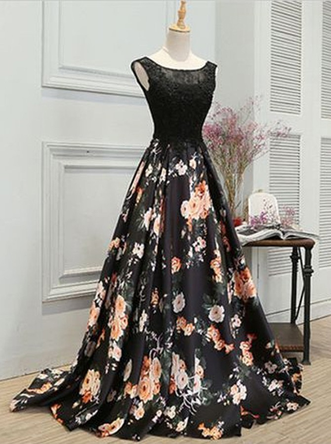 A-Line Round Neck Black Floral Satin Prom Dress with Lace Appliques фото
