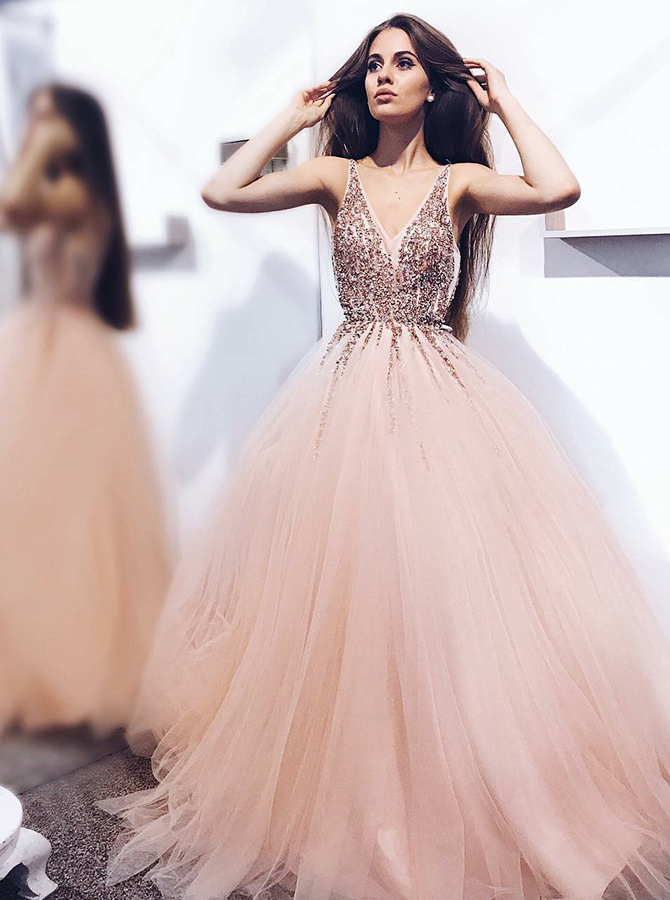 A-Line V-Neck Pearl Pink Tulle Prom Dress with Sequins Appliques фото