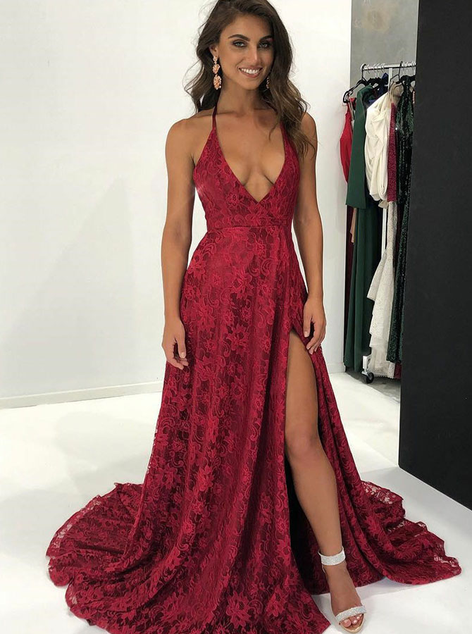 Simple-dress / A-Line Halter Sweep Train Red Lace Prom Dress with Split