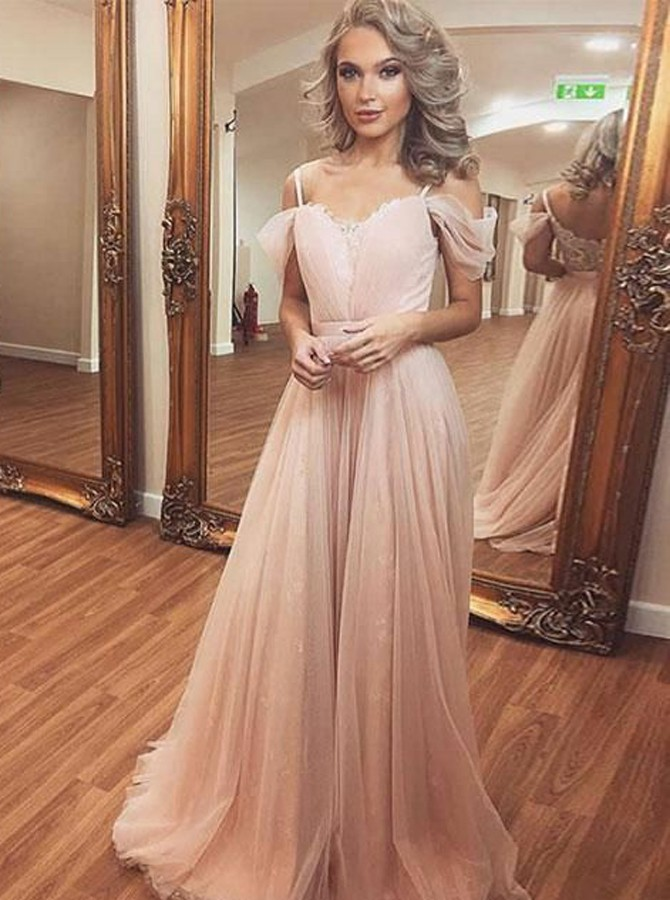 A-Line Cold Shoulder Sweep Train Pink Tulle Prom Dress фото