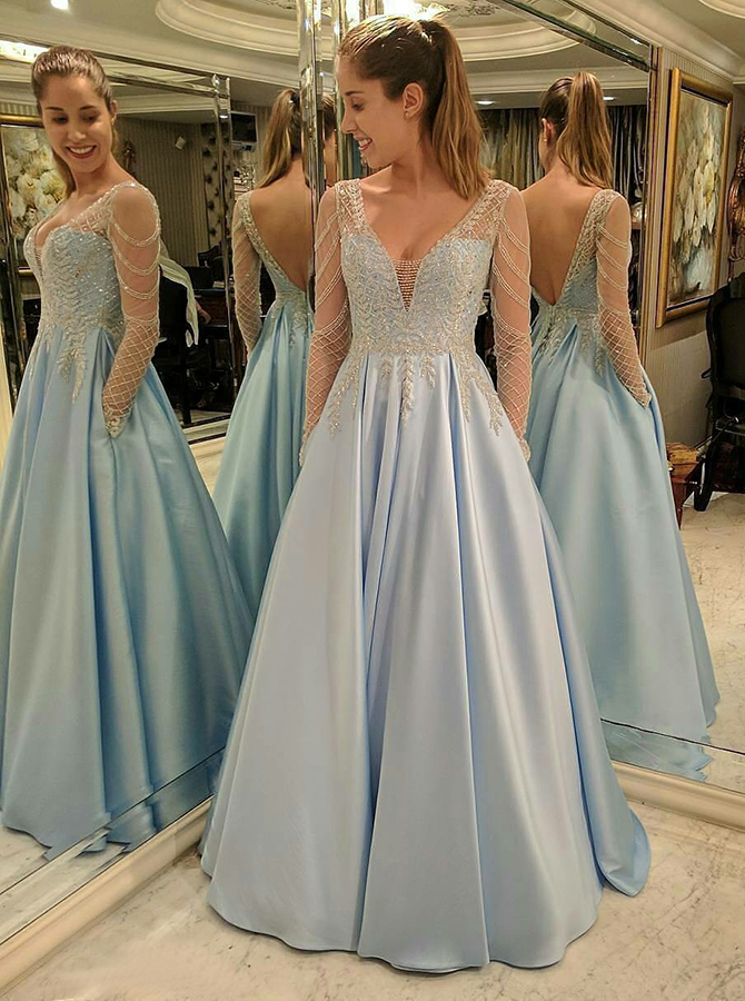 Simple-dress / A-Line V-Neck Long Sleeves Blue Satin Prom Dress with Lace Beading