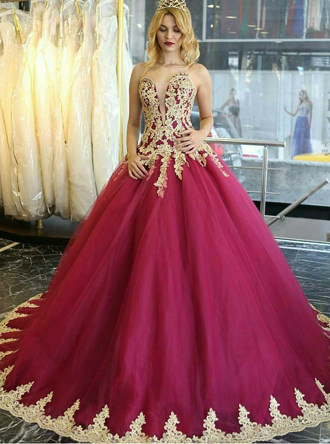Ball Gown Sweetheart Floor-Length Red Tulle Appliques Quinceanera Dress фото