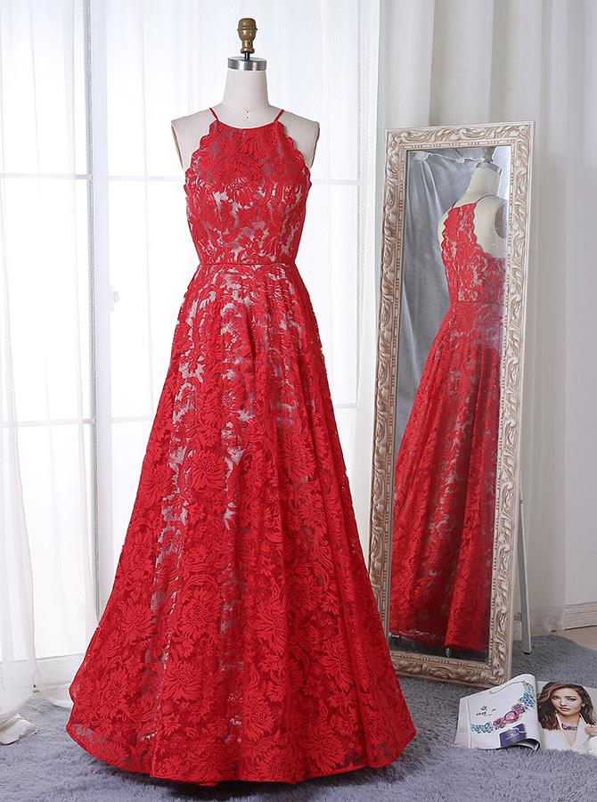 A-Line Jewel Sleeveless Floor-Length Red Lace Prom Dress фото