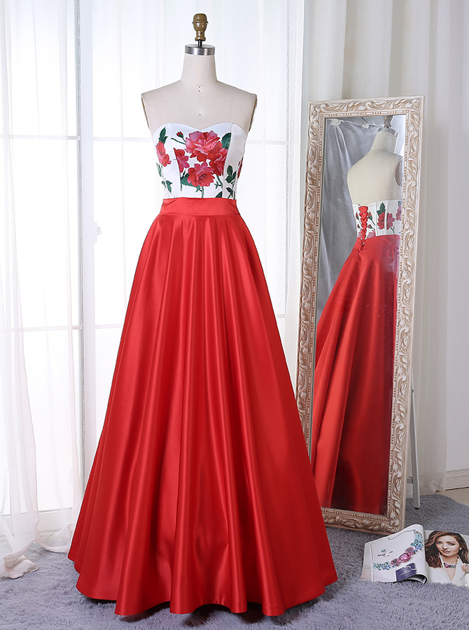 A-Line Sweetheart Floor-Length Red Satin Prom Dress with Floral Top