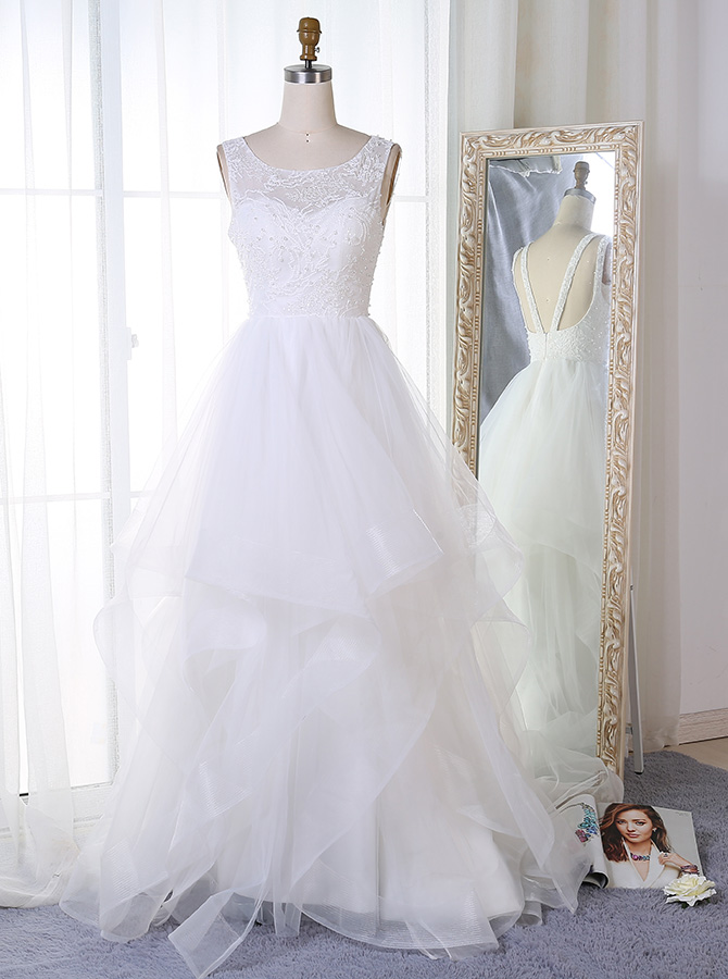 A-Line Bateau Court Train Tulle Beach Wedding Dress with Beading фото