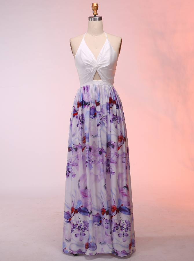 A-Line Halter Floor-Length Cut-Out Front Floral Backless Prom Dress фото