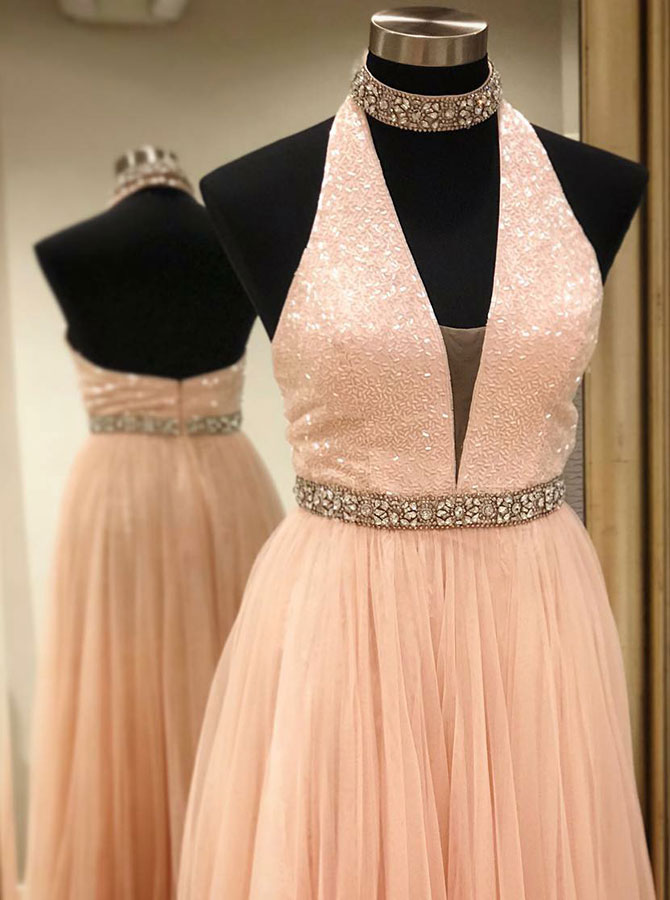 A-Line Halter Low Cut Pink Tulle Prom Dress with Beading фото