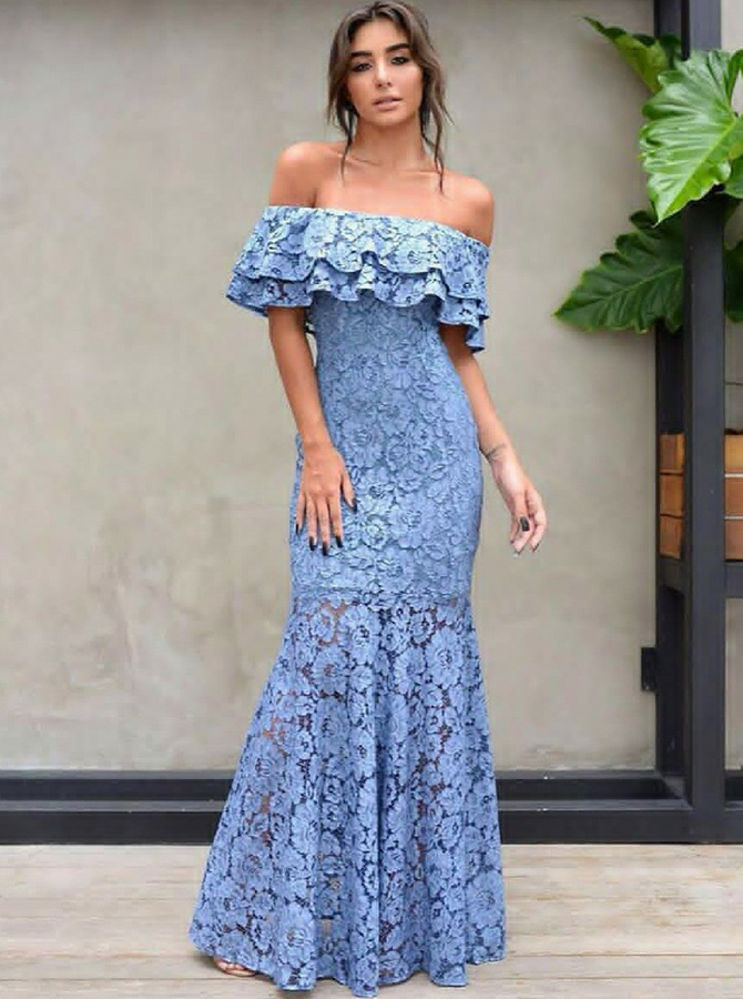 Mermaid Off-the-Shoulder Blue Lace Prom Dress with Ruffles фото