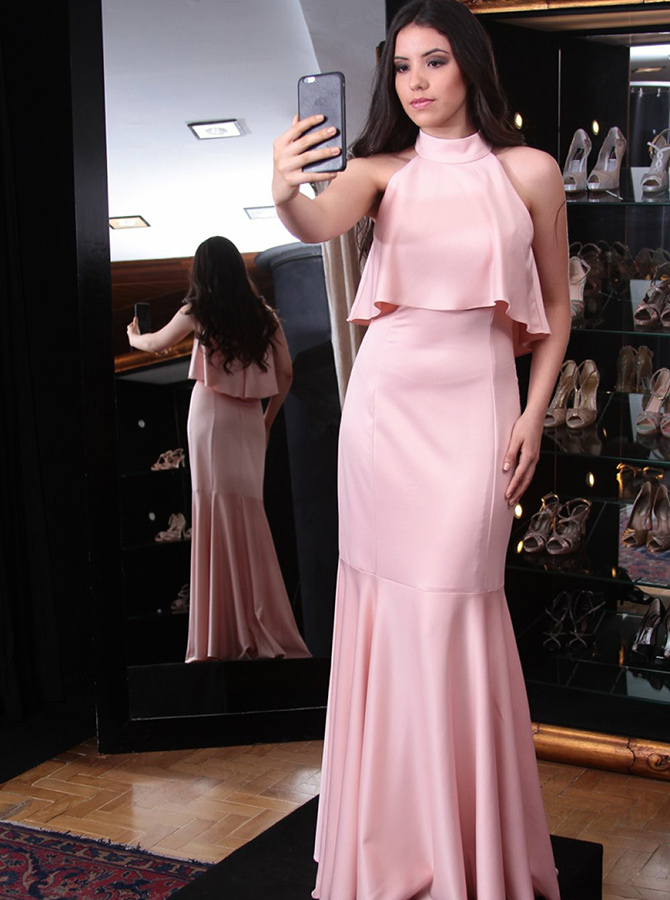 Mermaid High Neck Sweep Train Pink Satin Prom Dress with Ruffles фото