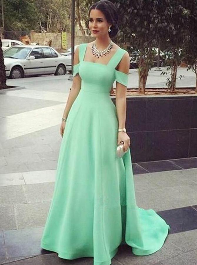 A-Line Cold Shoulder Mint Green Satin Prom Dress фото