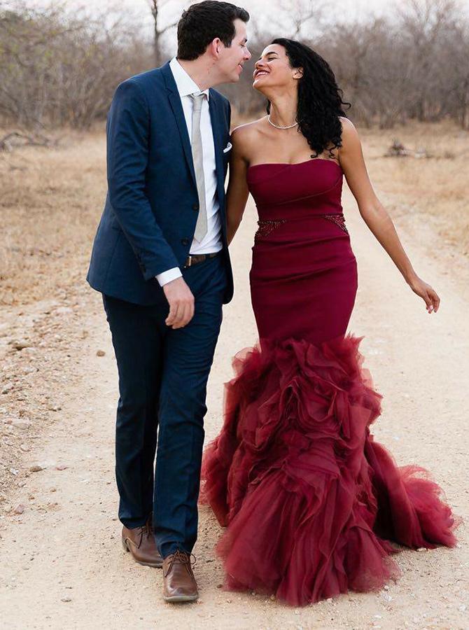 Mermaid Strapless Red Satin Prom Dress with Ruffles Beading