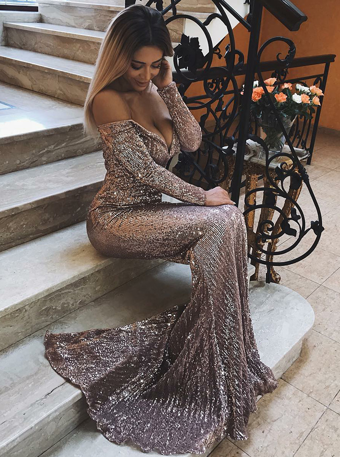 Mermaid Off-the-Shoulder Pink Sequined Evening Prom Dress фото