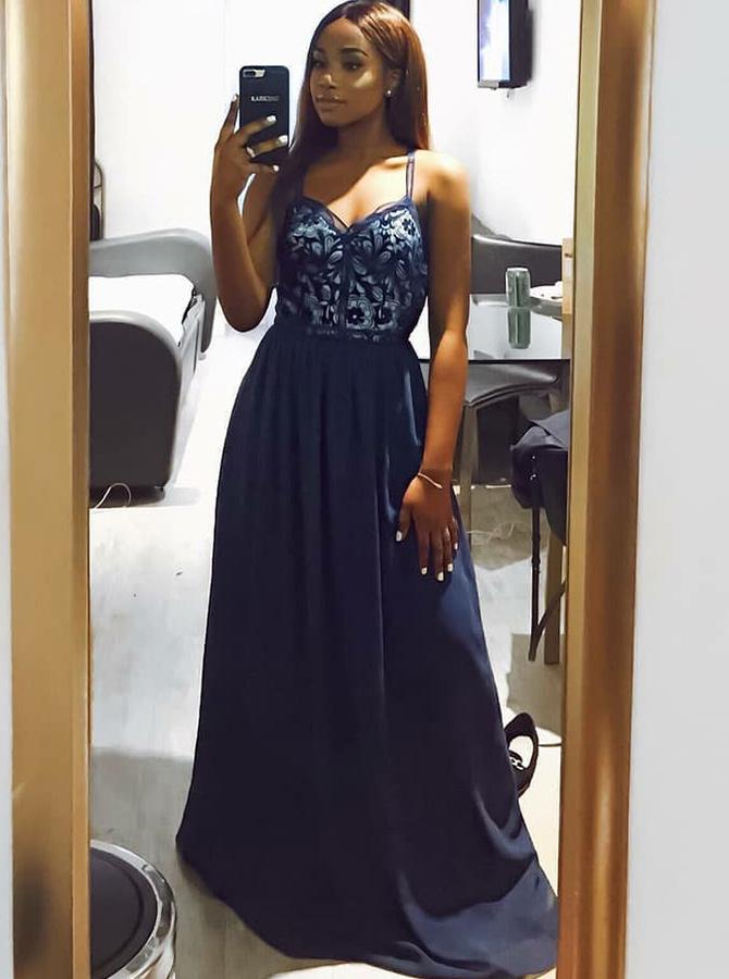 Simple-dress / A-Line Spaghetti Straps Blue Chiffon Prom Dress with Lace