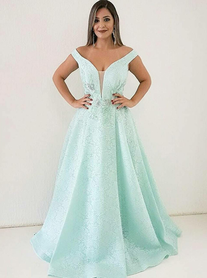 A-Line Off-the-Shulder Mint Floral Prom Dress with Appliques фото