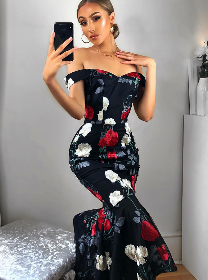 Mermiad Off the Shoulder Floral Navy Blue Satin Prom Dress фото