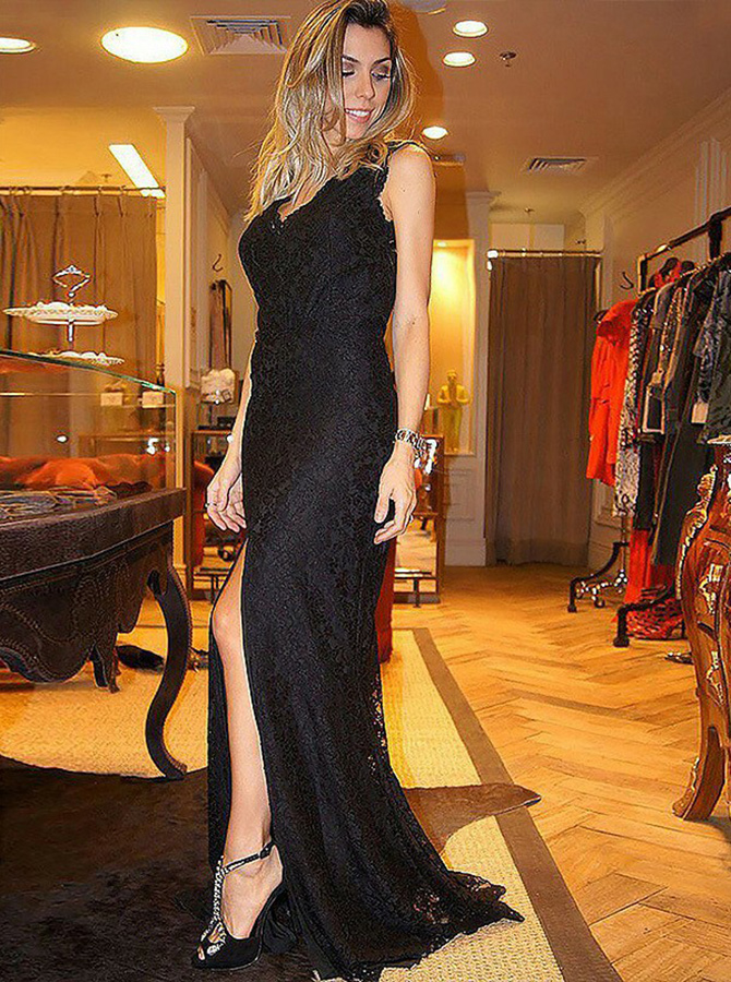 Sheath V-Neck Open Back Black Lace Evening Prom Dress with Split фото