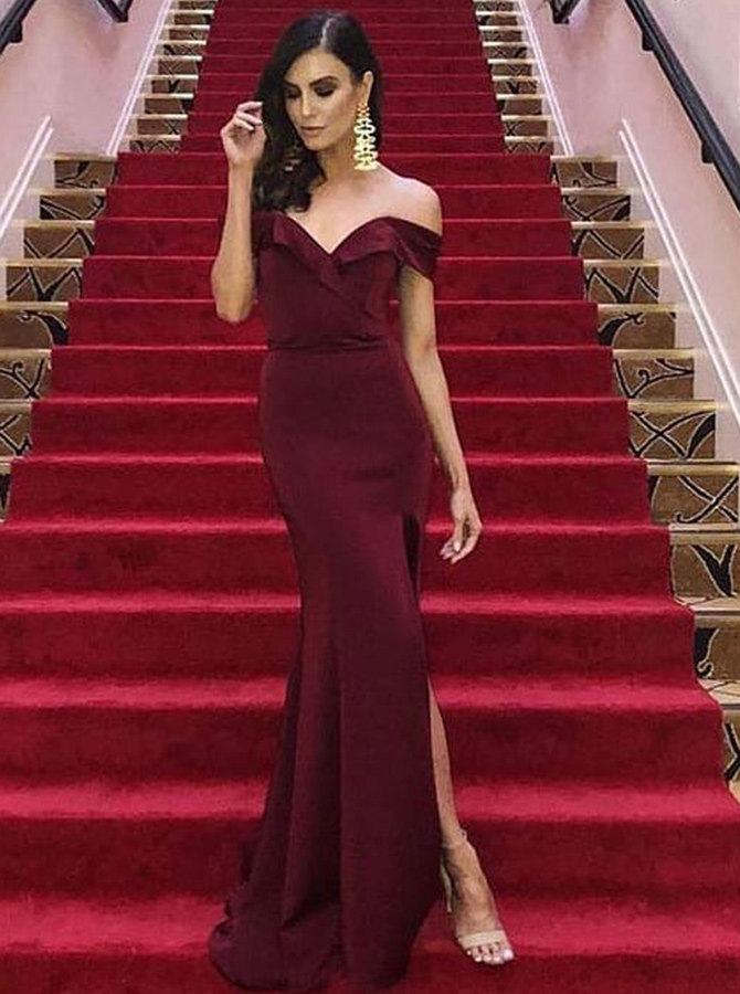 Sheath Off-the-Shoulder Burgundy Satin Prom Dress with Split фото