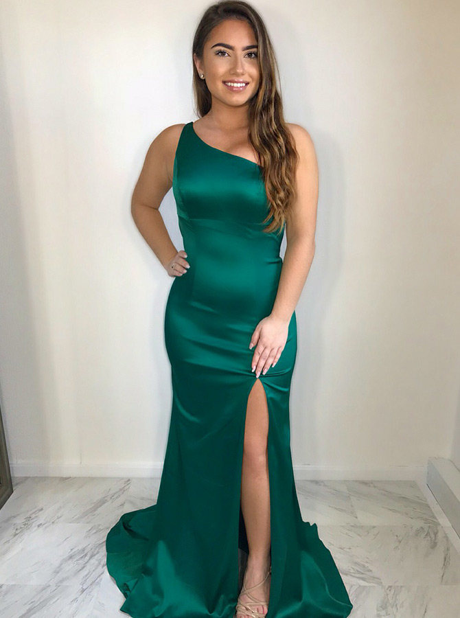 Mermaid One Shoulder Open Back Green Satin Prom Dress with Split фото