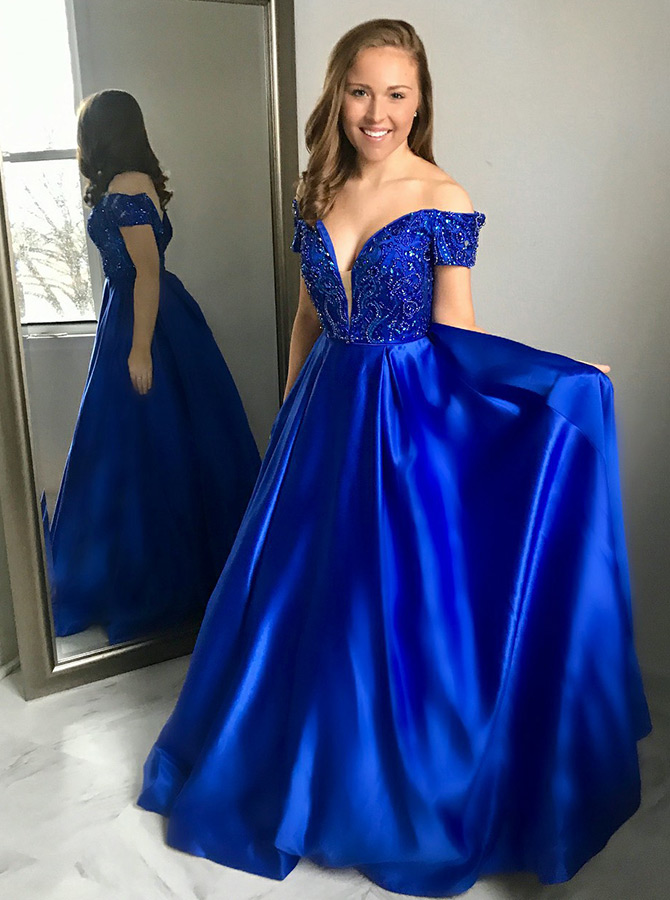 A-Line Off-the-Shoulder Royal Blue Satin Prom Dress with Beading