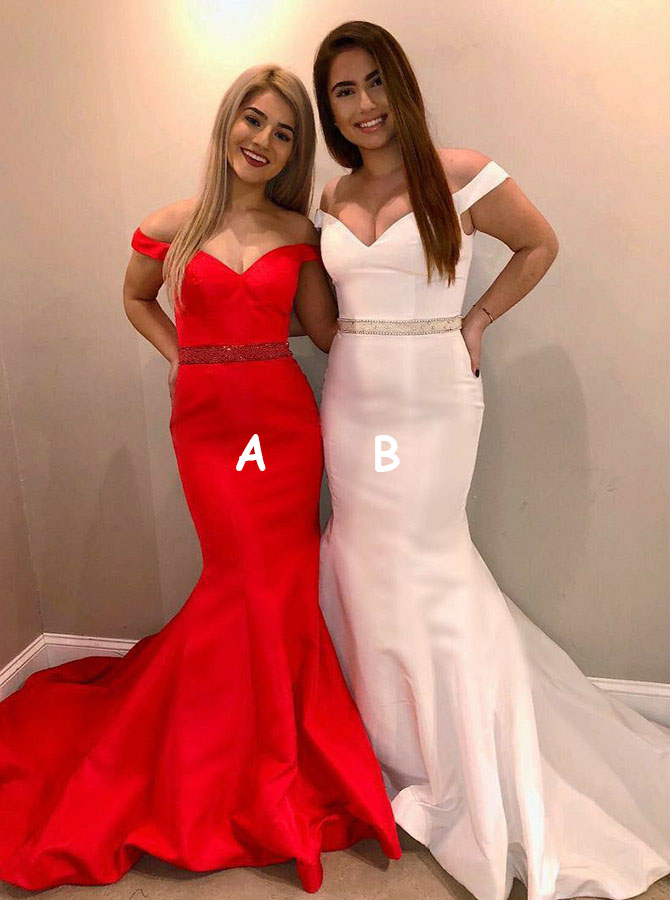 Mermaid Off-the-Shoulder Red Satin Prom Dress with Beading фото