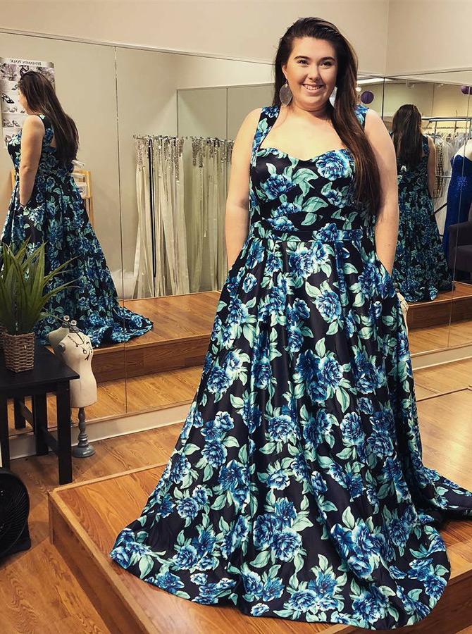 A-Line Square Neck Floral Navy Blue Satin Plus Size Prom ...
