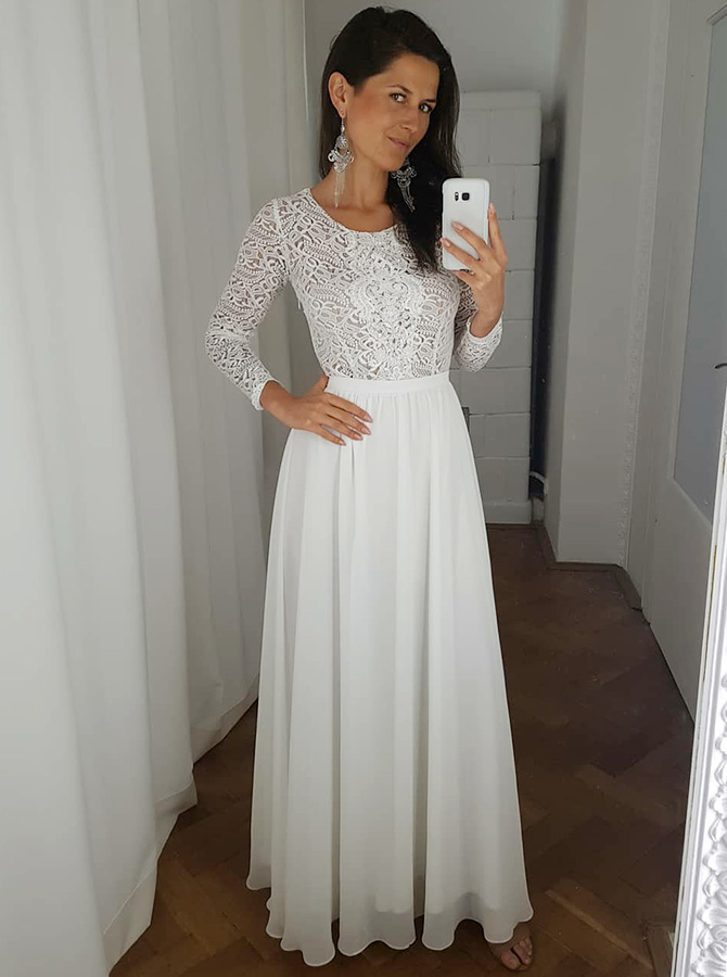 Simple-dress / A-Line Round Neck White Chiffon Prom Party Dress with Lace Sleeves